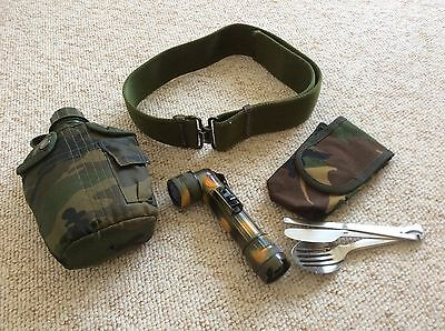 Army Cadets Water Bottle, Belt, Cutlery, Torch, Pouch And Camouflage Paints