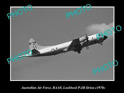 HISTORIC AVIATION PHOTO OF RAAF AUSTRALIAN AIR FORCE, LOCKHEED ORION PLANE 1970s