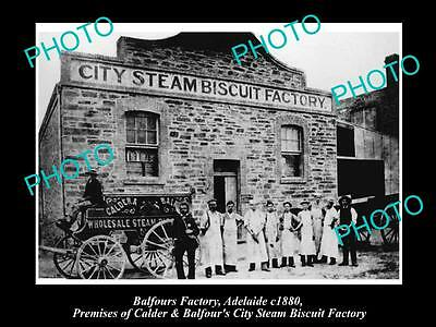 OLD HISTORIC PHOTO OF ADELAIDE SA, BALFOURS BAKERY STEAM BISCUIT FACTORY c1880
