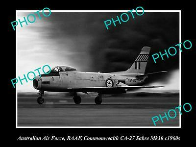 HISTORIC AVIATION PHOTO OF RAAF AUSTRALIAN AIR FORCE, CA-27 SABRE JET c1960s