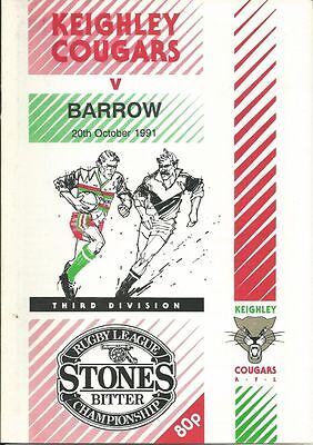 Keighley Cougars v Barrow 20/10/91 Rugby League Programme