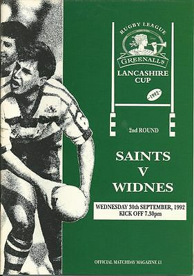 St Helens v Widnes 30/9/92 Lancashire Cup Rugby League Programme