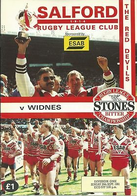 Salford v Widnes 29th Sept 1991 Rugby League Programme