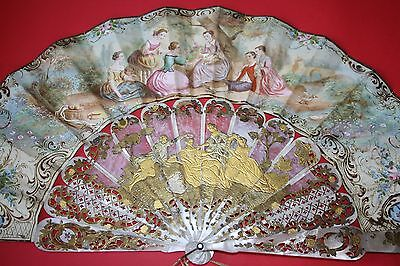 Fine Antique French Hand Carved Mother Of Pearl Gold Inlay Painted Fan C19Th