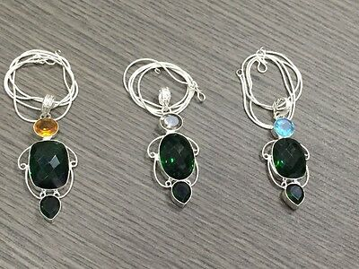 WHOLESALE LOT 3 pcs GREEN TOPAZ &MULTI-STONE.925 SILVER PLATED PENDANT &NECKLACE