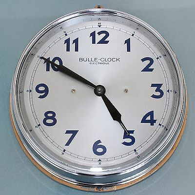 BULLE OB84 CHROME Wall TOP! Clock COLLECTORS ITEM ELECTRIC Antique French France