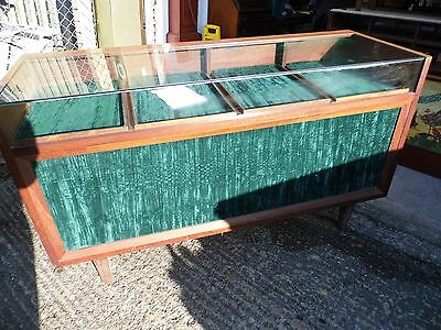 Vintage glass top Shop counter / Jewellers cabinet  with storage ( A )