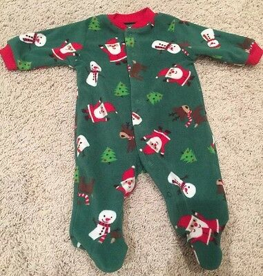 Infant Baby Carter's Christmas Sleeper Footed Pajamas Body Suit Size 3 Months
