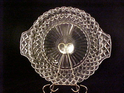 "Anchor Hocking Waterford Waffle Pattern Crystal 12"" Handled Cake Plate"