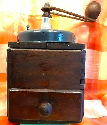Old French Coffee Mill - Dovetailed Box & Drawer; Metal Handle & Grinder