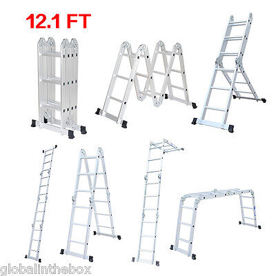 Heavy Duty Multi-Purpose step scaffold straight Ladder Foldable Extendable 3.7M