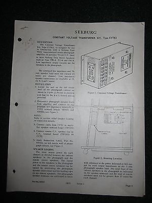 Seeburg Constant Voltage Transformer Kit CVTK2 Service Manual Parts List