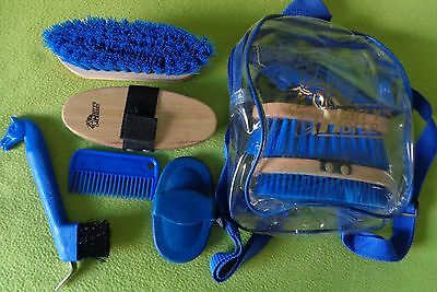 NEW Harry's Horse Kids Backpack Grooming Kit~BLUE~Brushes~Hoof Pick~Curry Comb