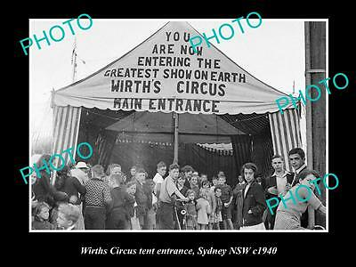 OLD LARGE HISTORIC PHOTO OF WIRTHS CIRCUS TENT ENTRANCE, SYDNEY NSW c1940s 1