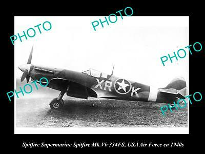OLD HISTORIC AVIATION PHOTO, SPITFIRE SUPERMARINE AIRCRAFT, USA AIR FORCA c1940s