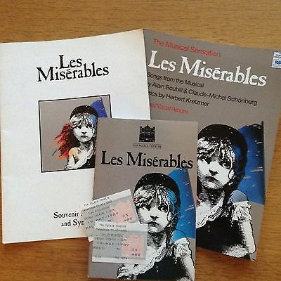 Les Miserables Souvenir Brochure, Sheet Music, Programme and Two Used Tickets