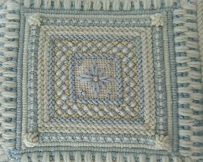 """Hand Made Ivory Blue Yellow WOOL NEEDLEPOINT PILLOW Pastel  16""""Sq"""