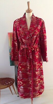 Vintage Red Chinese dressing gown robe, Hollywood pin-up, Dita 40s 50s Hand-made