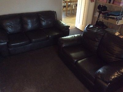 Brown Leather Look Sofas 2 And 3 Seater Hardly Used