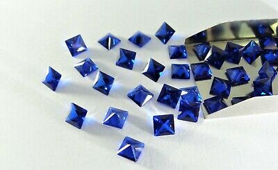 Blue Spinel Square Princess Cut SIZE CHOICE Loose Stones Cubic Zirconia Gemstone