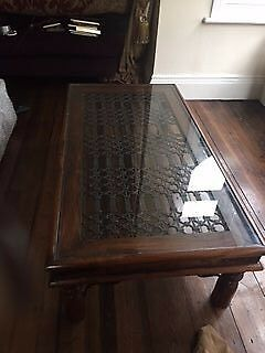 Large dark wood , metal and glass coffee table