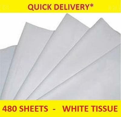 """480 Sheets of WHITE Tissue Paper - Packing, Wrapping, Craft, 15"""" x 20""""        09"""