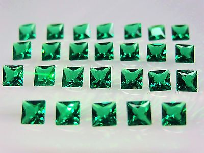 Emerald Green Square Princess Cut SIZE CHOICE Loose Stones Nanocrystal Gemstones
