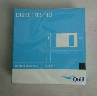 "New & Sealed 10 Quill 3.5"" Floppy Diskettes Dos Formatted"