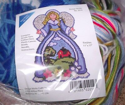 """Design Works  COUNTRYSIDE ANGEL Wall Hanging Plastic Canvas Kit  11"""" x 17"""""""