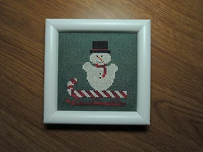 "Finished Completed Cross Stitch ""SNOW MAN ON CANDY CANE SLED"" framed with easel"