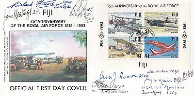 Fiji FDC 75th Anniversary of the RAF Signed 9 Battle of Britain Pilots, Crew