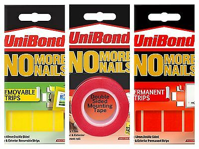 Unibond No More Nails Tape - Removable or Permanent Strips Double Sided Adhesive