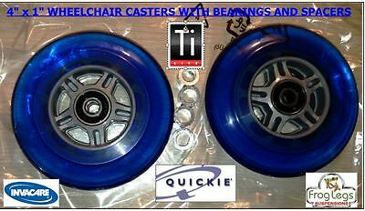 """4"""" X 1"""" Wheelchair Casters-Quickie-Tilite-Invacare 2 Wheels & Spacers, Blue"""