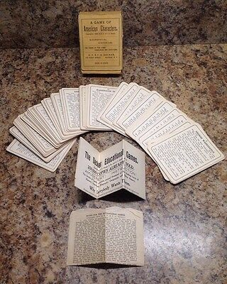Decker Game Of American Characters 1909 Complete Rare With Box And Instructions