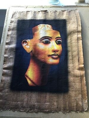 Egyptian Papyrus genuine hand painted 44 x 33 cm QUEEN NEFERTITI