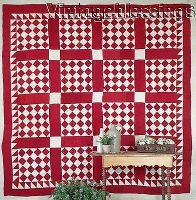 """NEVER USED Graphic ANTIQUE c1880 RED & WHITE Never Used QUILT 80"""" x 79"""""""
