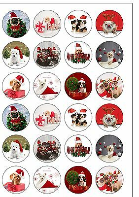 24 Precut Cute Dog & Puppy Christmas Themed Edible Wafer Paper Cake Toppers