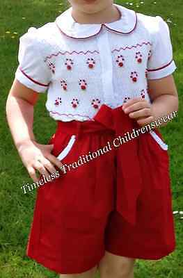 *now £20* Christmas Red Smocked Girls Shirt & Shorts Outfit Set 1,2,3,4,5Years