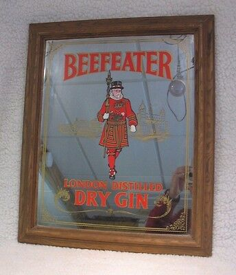 """Vintage Beefeater Dry Gin Advertising Clear Mirror  24"""" x 19.5"""""""