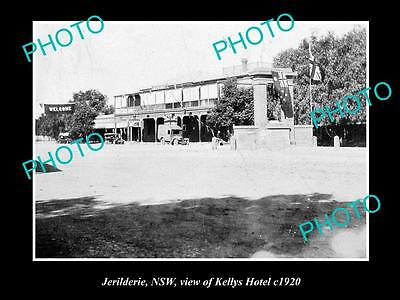 OLD LARGE HISTORICAL PHOTO OF JERILDERIE NSW, VIEW OF KELLYS HOTEL c1920