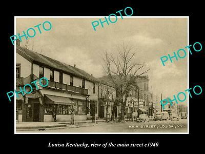 OLD LARGE HISTORIC PHOTO OF LOUISA KENTUCKY, VIEW OF THE MAIN STREET c1940
