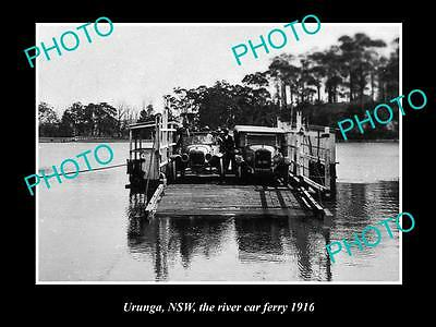 OLD LARGE HISTORICAL PHOTO OF URUNGA NSW, VIEW OF THE RIVER CAR FERRY c1916
