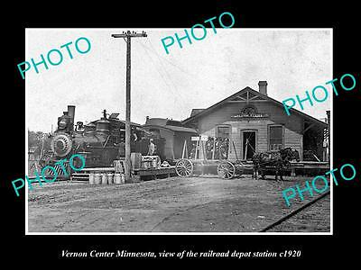 OLD LARGE HISTORIC PHOTO OF VERNON CENTER MINNESOTA RAILROAD DEPOT STATION c1920