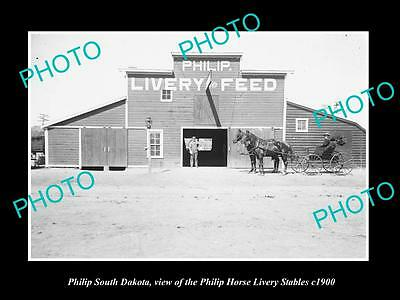 OLD LARGE HISTORIC PHOTO OF PHILIP SOUTH DAKOTA, THE HORSE LIVERY STABLES c1900