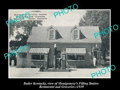 OLD LARGE HISTORIC PHOTO OF BUTLER KENTUCKY, MONTGOMERYS SERVICE STATION c1939
