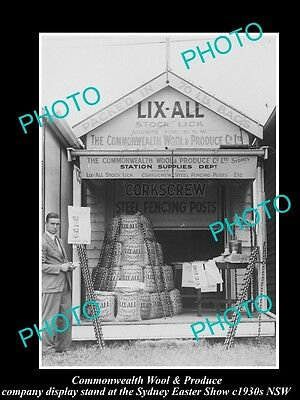 OLD LARGE HISTORIC PHOTO OF COMMONWEALTH WOOL Co SHOW STAND, SYDNEY NSW c1930s