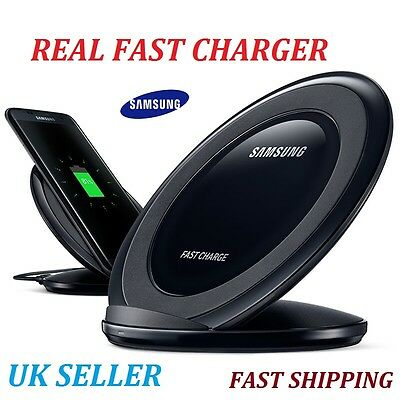 Samsung Galaxy S6/S7/Edge/Note(5+7)Fast Qi Wireless Charger Pad With Stand Black