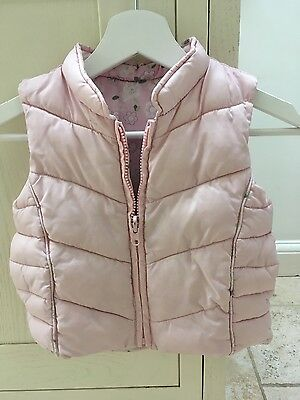 girls pink M and S gilet/ waistcoat age 3-4