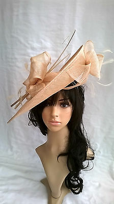 Nude  Sinamay & feather Hatinator ..hat.Large saucer disc Wedding.races.