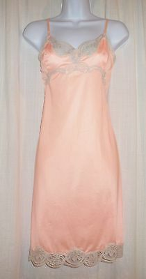 Vtg Pink Kayser Nylon Full Slip With Ecru Lace Detail Size 34 S